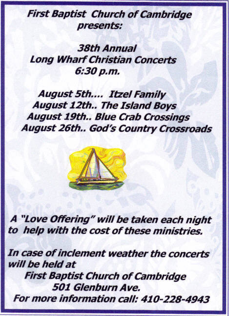 2012 Long Wharf Concert Series Announcement